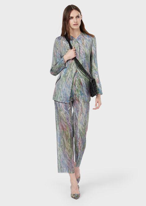 Pantalon court en organza plissé imprimé