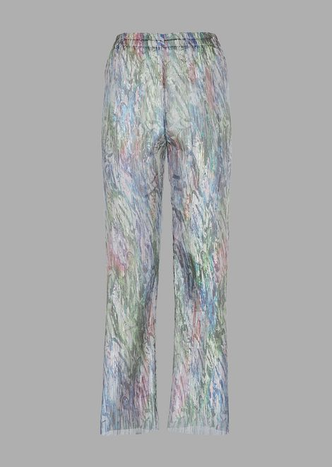 Cropped trousers in printed and pleated organza