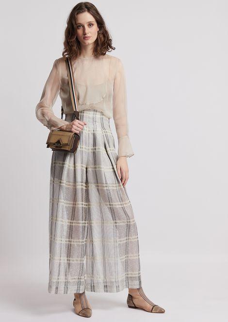 Oversized, high-waisted trousers in check organza with sequins
