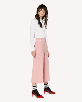 REDValentino Technical cady cropped trousers with ruche detailing
