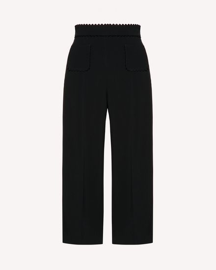Stretch frisottine cropped pants with zagana detail