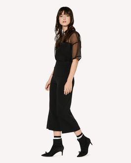 REDValentino Stretch frisottine cropped pants with zagana detail