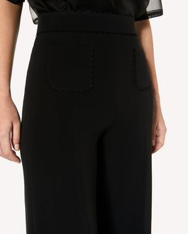 REDValentino Stretch-frisottine cropped trousers with zagana ribbon detail