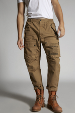 DSQUARED2 Cotton Arctic Cargo With Large Side Zip And Printed Pocket Details Pants Man