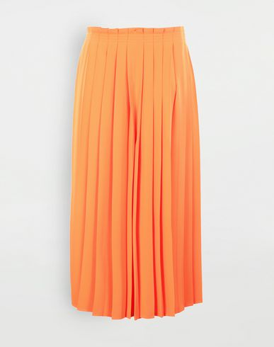 TROUSERS Pleated wide trousers Orange