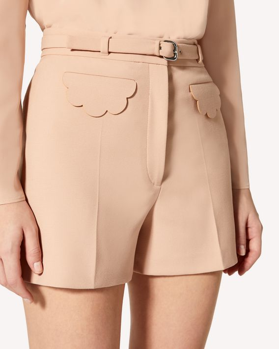 REDValentino Limited Edition   Scallop detail cady tech shorts