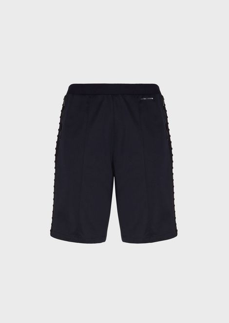 Bermuda shorts in cotton interlock fabric with bands and flocked studs