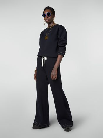 Marni Drawstring trousers in double wool jersey Woman f