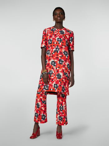 Marni Trousers in cady Steel Magnolias print Woman f