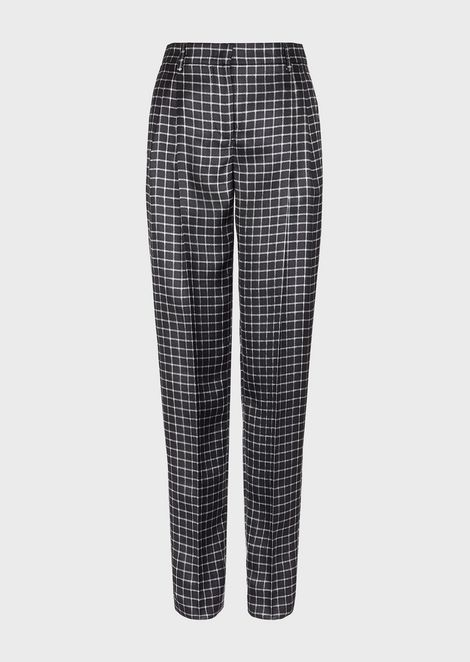 Silk twill trousers with square pattern