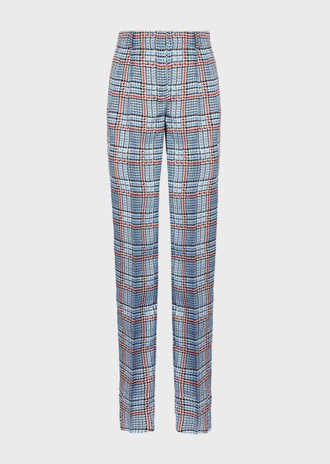 Pantalones pitillo de sarga con fantasía de cuadros