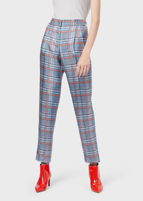Silk twill trousers with check pattern