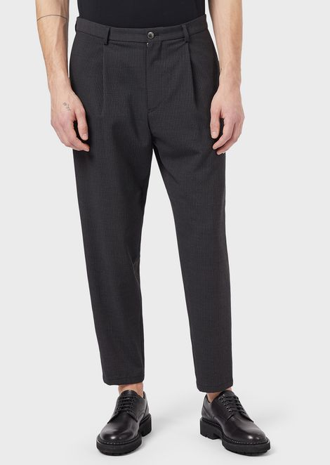 Seersucker trousers with front crease