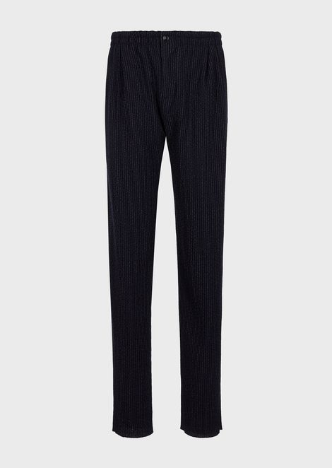 Jogger trousers in virgin wool with pinstripe motif