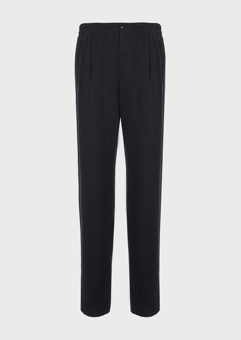 Jogger trousers in washed cupro with micro pattern