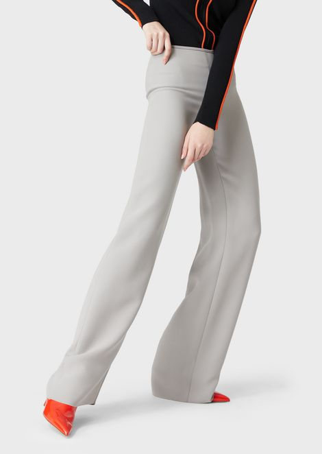 Palazzo trousers in silk blend cady
