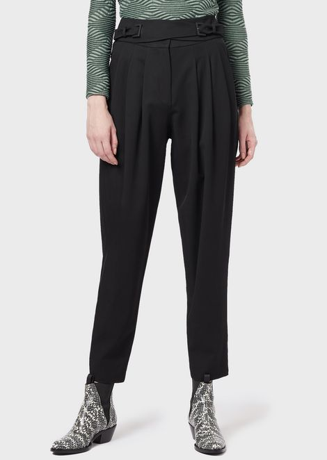 Cropped trousers with darts and cross-over straps