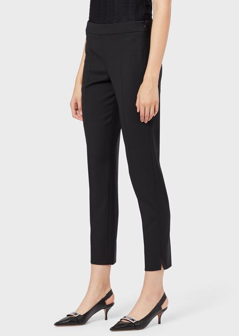 Slim-fit, virgin wool cropped trousers