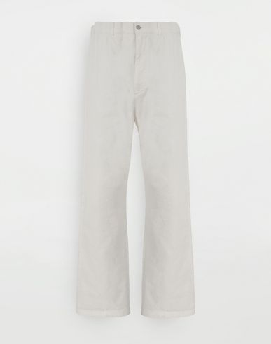 TROUSERS Puckered straight-leg  trousers White