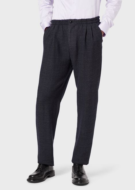 Jogger trousers in two-colour knit-effect virgin wool