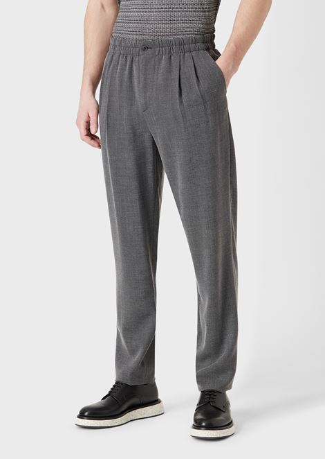 Jogger trousers in mouliné fabric