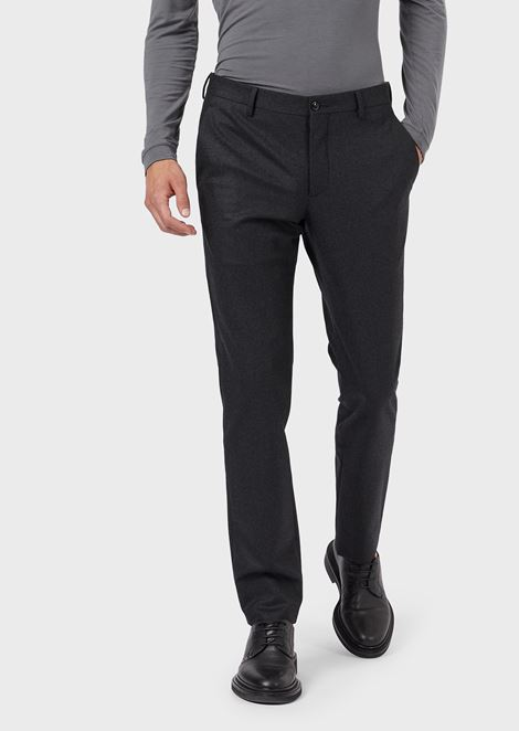 Stretch wool flannel trousers