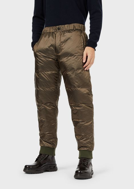 Trousers in superlight performance fabric with goose down padding