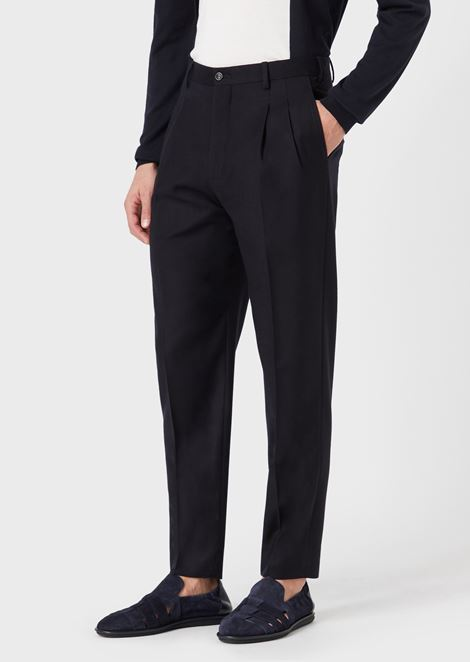 Pleated wool flannel trousers