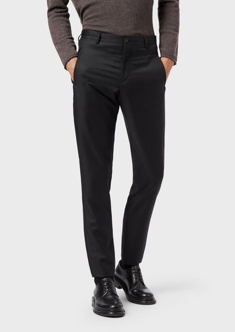 Slim-fit trousers in virgin wool gabardine