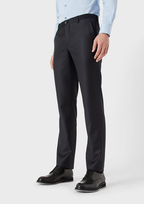 Wool and cashmere gabardine trousers