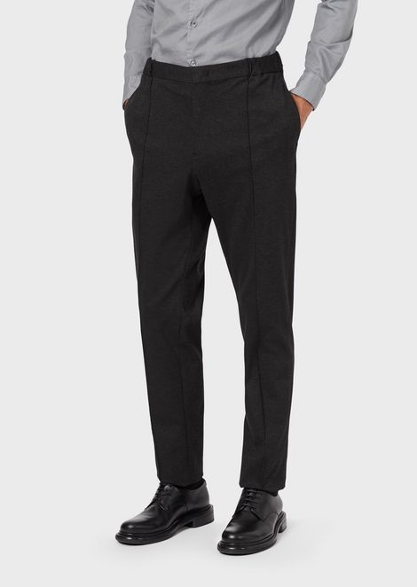Slim-fit trousers in melange jersey