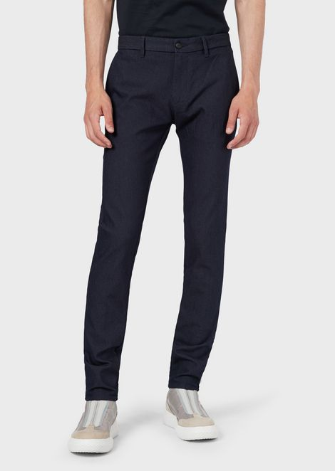 Trousers in textured, yarn-dyed fabric