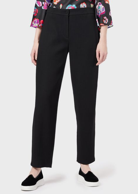 Baggy-fit trousers in stretch textured wool