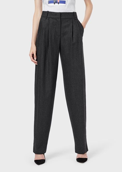 Wide-fit trousers in stretch flannel