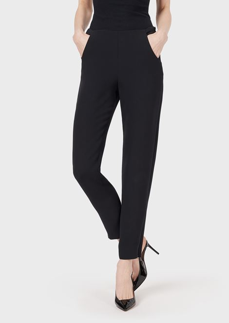 Silk cady trousers with zip at the hem
