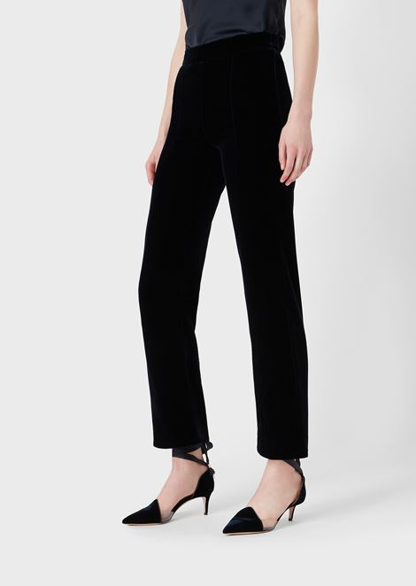 Cropped trousers in velvet