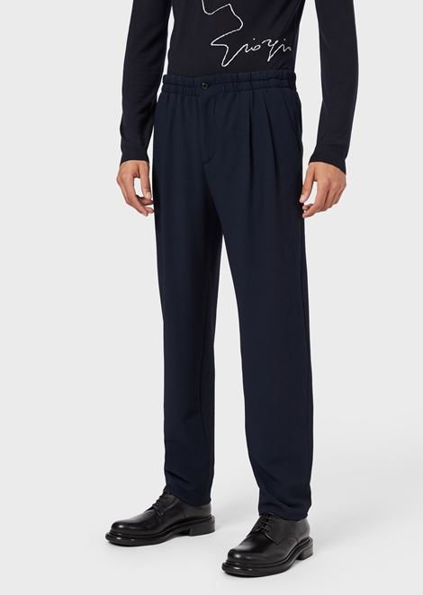 Jogger trousers in seersucker wool