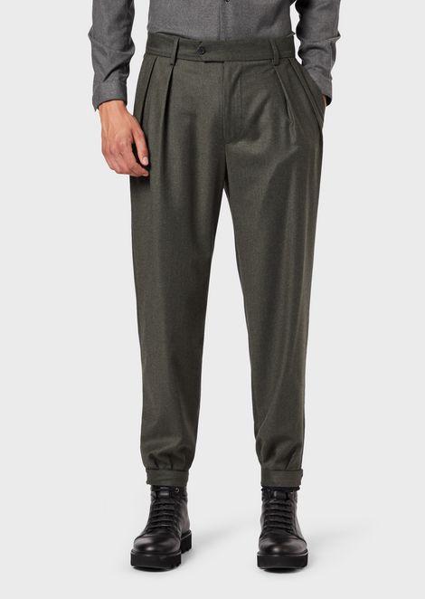 Pure virgin-wool flannel trousers