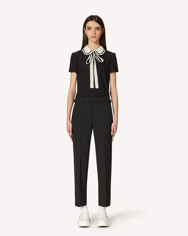 REDValentino Wool stretch reps pants with buckle detail
