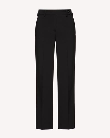 Wool stretch reps pants with buckle detail