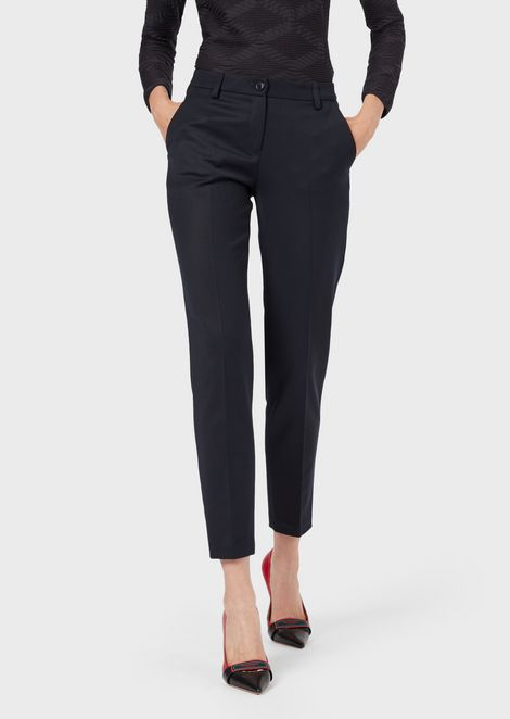 Cigarette trousers in gabardine-wool blend