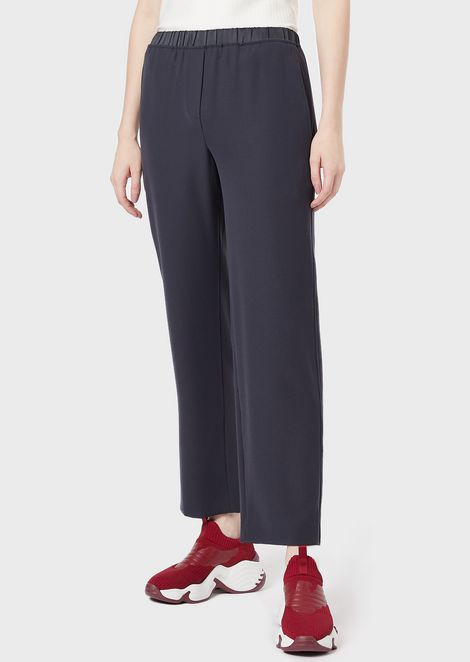 Cropped polyester trousers with elasticated waist