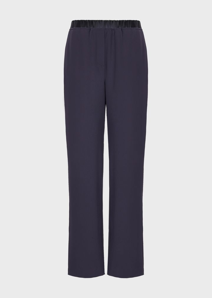 876d4c5413 Cropped polyester trousers with elasticated waist