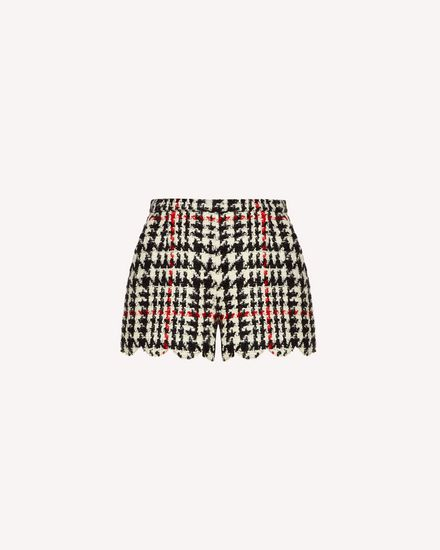 Scallop detail wool hounds tooth shorts