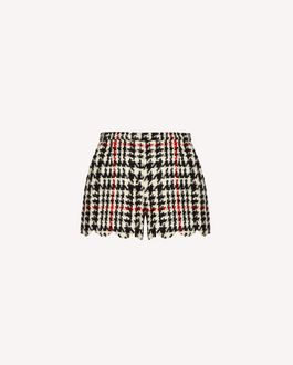 REDValentino Houndstooth wool shorts with scallop detail