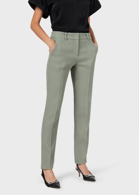 Chino trousers in textured stretch fabric