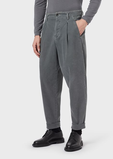 Garment-dyed gabardine trousers with darts