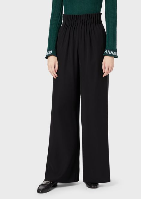 Polyester palazzo trousers with pleated waist