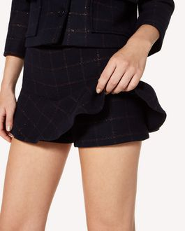 REDValentino Lurex wool check shorts with ruffle detail