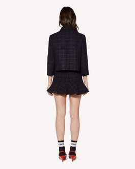 REDValentino Ruffle detail wool lurex check shorts